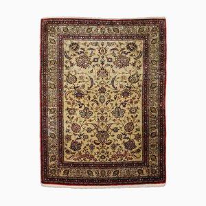 Middle East Floral Beige Silk Rug with Central Medallion & Border