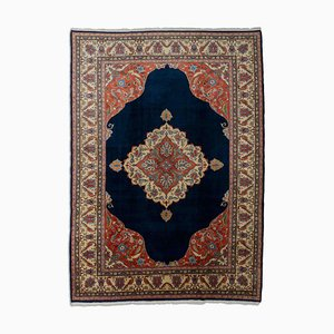 Albanian Floral Dark Blue Rug with Border and Medallion, 1970s