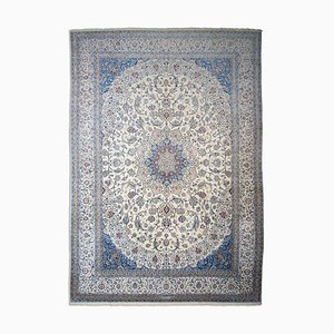 Floral Off-White Nain Rug with Border and Medallion, 1980s