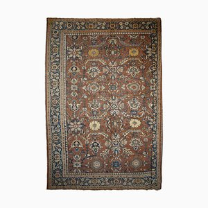 Antique Floral Dark Brown Mahal Rug with Border