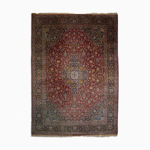 Middle East Floral Rusty Red Rug with Medallion and Border, 1920s
