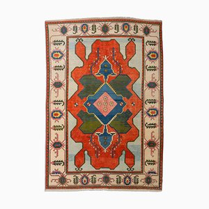 Floral Light Red Kars Rug with Border and Medallion, 1980s