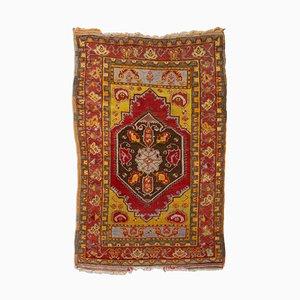 Antique Turkish Geometric Dark Red Oriental Rug with Border