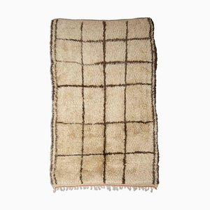 Checkered Beni Ourain Rug in Golden Beige with Stripes