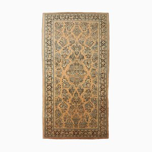 Floral Light Brown Sarough Rug with Medallion and Border