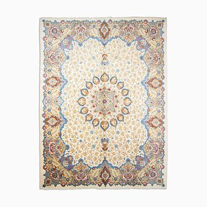 Middle East Floral Beige Rug with Border and Medallion