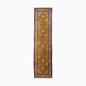 Nepal Geometric Olive Green Runner Rug with Border