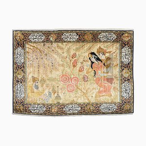 Middle East Floral Gold Silk Rug with Border and Motif