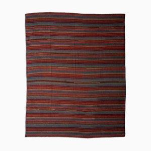 Gemusterter dunkelroter Kelim Teppich mit Streifen