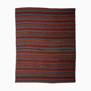 Patterned Dark Red Kilim Rug with Stripes