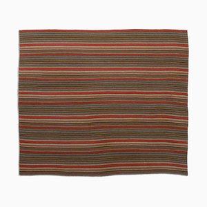 Geometric Dark Red Jajim Kilim Rug with Stripes