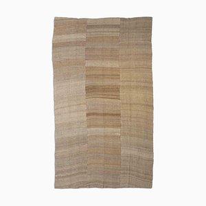 Patterned Light Brown Jajim Kilim Rug with Stripes