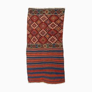 Geometric Dark Red Kilim Rug with Diamonds and Stripes