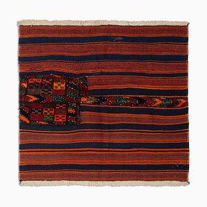 Geometric Dark Blue Khorjin Kilim Rug with Stripes