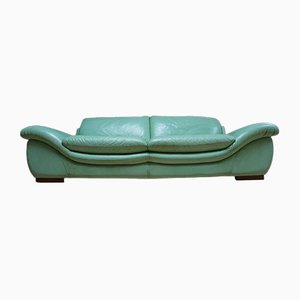 Large Vintage Mint Green Leather Sofa, 1980s