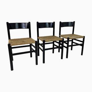 Sedie da pranzo vintage nere in stile Charlotte Perriand, Francia, anni '60, set di 3