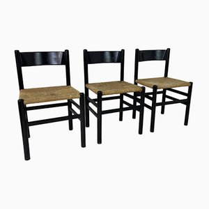 Vintage French Black Dining Chairs in the Style of Charlotte Perriand, 1960s, Set of 3
