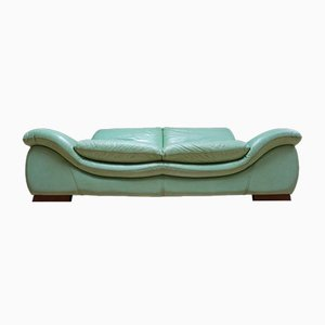 Large Vintage Mint Green Leather 2-Seat Sofa, 1980s