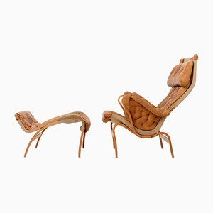 Pernilla Lounge Chairs in Cognac by Bruno Mathsson for Dux, 1970s, Set of 2