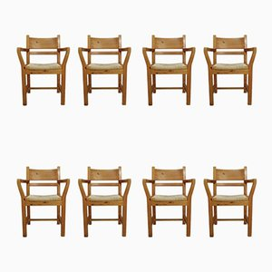 Danish Pine Dining Chairs with Rope Seat, 1970s, Set of 8