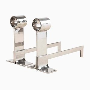 Polished Steel Andirons, Set of 2