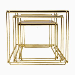 Gold Isocèle Nesting Tables by Max Sauze for Atrow, 1970s, Set of 3