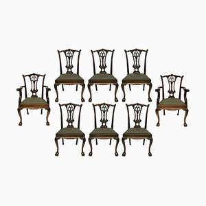 Antique English Chippendale Style Dining Chairs, Set of 8