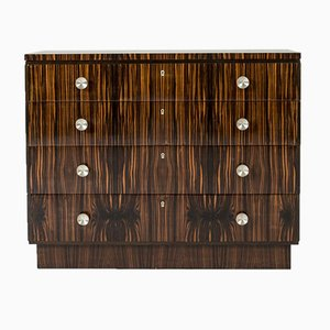 Swedish Functionalist Zebrano & Zebra Wood Chest of Drawers, 1930s