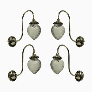 Antique Edwardian Swan Neck Wall Lights, Set of 4