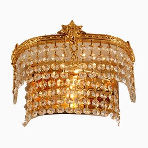 Mid-Century Gilt Brass & Swarovski Crystal 2-Tier Sconces, 1960s, Set of 2