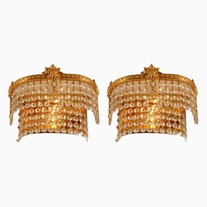 Mid-Century Gilt Brass & Swarovski Crystal 2-Tier Sconces, 1960s, Set of 2