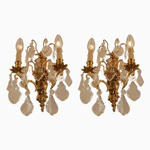 Large Antique French Gilt Bronze & Crystal Pendant 2-Light Sconces, Set of 2