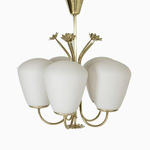 Swedish Modern Brass and Opaline Glass Chandelier, 1940s