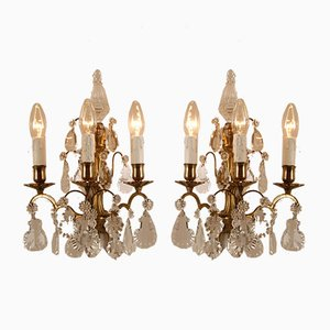 Antique French Gilt Bronze & Crystal Pendant 3-Light Sconces, Set of 2