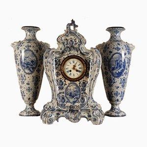 Large German Ceramic Clock Garniture Vase Set from Royal Bonn, Set of 3