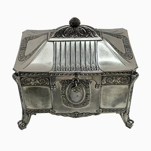 Antique German Art Nouveau Silver-Plated Jewelry Box from WMF