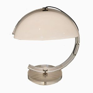Mid-Century Italian Mushroom Table Lamp with Lucite Base in the Style of Stilnovo