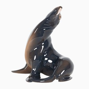 Vintage Danish Porcelain Sea Lion Figurine by Knud Møller for Bing & Grondahl