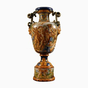 19th Century Italian Renaissance Vase with Serpentine Handles by Majolica