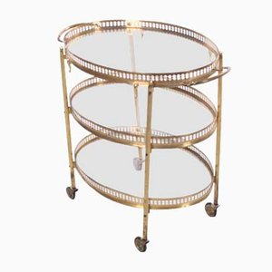 Golden Drinks Trolley with 3 Layers from Maison Jansen, Paris, 1950s