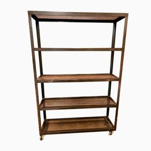 Vintage Industrial Bookcase with Wheels