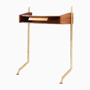 Italian Teak and Brass Console Table with Drawer, 1950s