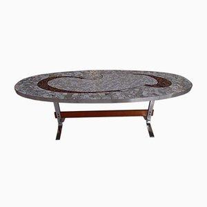 Vintage Oval Chrome, Wood & Mosaic Coffee Table, 1950s
