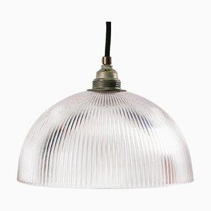 Lampe à Suspension Industrielle Mid-Century en Verre de Holophane