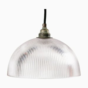 Mid-Century Industrial Glass Shade Pendant Lamp from Holophane