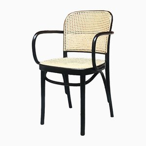 Mid-Century Modern Italian Wood & Straw Dining Chair in the Style of Thonet, 1960s