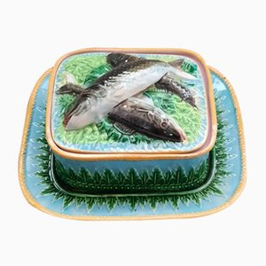 Antique Majolica Sardine Box by George Jones