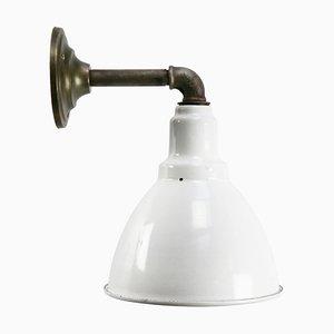 Vintage Industrial White Enamel Sconce