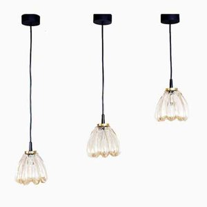 Glass Ceiling Lamps, 1970s, Set of 3