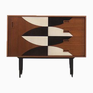 Mid-Century Teak Chest of Drawers with Hand-Painted Pattern, 1960s